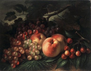 George Henry Hall (American, 1825-1913). Peaches, Grapes and Cherries, ca. 1860-1870. Oil on canvas, 12 5/8 x 16 3/16 in. (32.1 x 41.1 cm). Brooklyn Museum, Gift of Joan B. Mirviss and Robert J. Levine, 2002.91