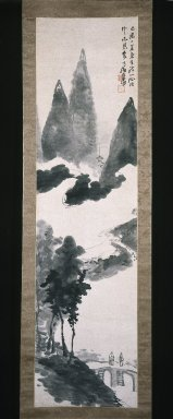 Seikô Okuhara (Japanese, 1837-1913). Mountain Landscape, ca. 1910. Hanging scroll, ink on paper, 67 x 17 11/16 in. (170.2 x 44.9 cm). Brooklyn Museum, Gift of Joan B. Mirviss in honor of Dr. Bertram H. Schaffner's 90th Birthday, 2002.96.1