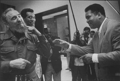 Hazel Hankin (American, born 1947). Havana, Cuba - 1996, Fidel Castro, Tiofilo Stevenson and Muhammad Ali, 1996; Printed 2002. Gelatin silver photograph, Sheet: 16 x 19 1/2 in. (40.6 x 49.5 cm); . Brooklyn Museum, Gift of Walter Matzner, by exchange, 2003.13. © Hazel Hankin