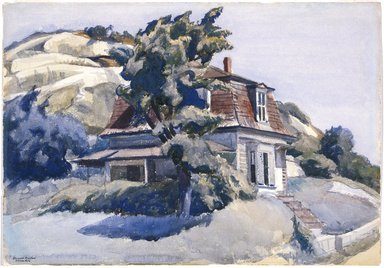Edward Hopper (American, 1882-1967). House at Riverdale, 1928. Watercolor with graphite sketch on white, medium weight, roughly textured wove paper, 13 7/8 x 19 7/8 in. (35.2 x 50.5 cm). Brooklyn Museum, Bequest of Anita Steckler, 2003.1. © Heirs of Josephine N. Hopper, licensed by the Whitney Museum of American Art