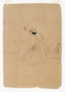 Seated Raja Smoking a Hookah, ca. 1775. Ink and color on paper, Mat opening: 9 7/8 x 8 1/8 in. (25.1 x 20.6 cm). Brooklyn Museum, Gift of Dr. Alvin E. Friedman-Kien, 2003.4.1