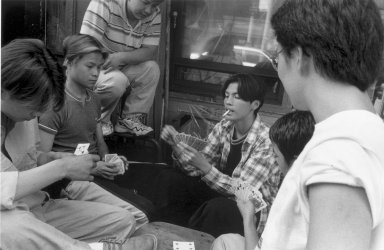 Harvey R. Zipkin (American, born 1942). Card Game II - Chinatown (N.Y.C.), 1999-2000. Gelatin silver photograph, Sheet: 16 x 9 3/4 in. (40.6 x 24.8 cm). Brooklyn Museum, Gift of the artist, 2003.48. © Harvey R. Zipkin