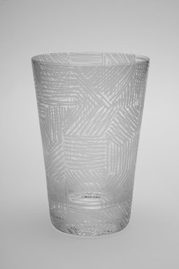 Sol LeWitt (American, 1928-2007). Drinking Glass, One of a Set of Four, 2002. Glass, 5 x 3 3/8 x 3 3/8 in. (12.7 x 8.6 x 8.6 cm). Brooklyn Museum, H. Randolph Lever Fund, 2003.56.4. Creative Commons-BY