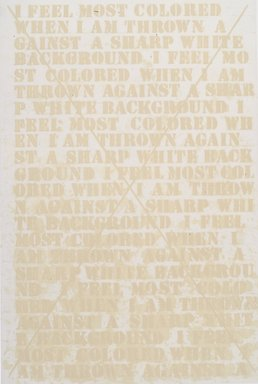 Glenn Ligon (American, born 1960). [Untitled] (Cancellation Prints), 1992-2003. Hardground, softground, aquatint and spit bite etching with drypoint, Sheet: 28 1/4 x 20 in. (71.8 x 50.8 cm). Brooklyn Museum, Robert A. Levinson Fund and gift of Dr. and Mrs. Frank L. Babbott, by exchange, 2003.60a-b. © Glenn Ligon, Courtesy of the artist, Luhring Augustine, New York, Regen Projects, Los Angeles