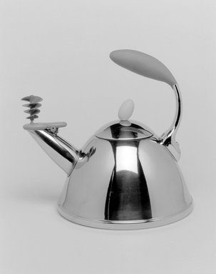 "Michael Graves (American, 1934-2015). ""Spinning Whistle"" Tea Kettle with Lid, Designed 2002. Stainless steel, plastic, 10 x 10 7/8 x 9 in. (25.4 x 27.6 x 22.9 cm). Brooklyn Museum, Gift of Michael Graves & Associates, 2003.72.1a-b. Creative Commons-BY"