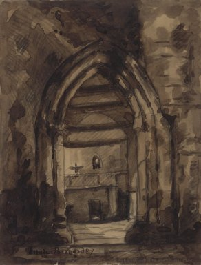 Émile Bernard (French, 1868-1941). Untitled (Chapel), ca. 1889. Ink wash, Image: 11 x 14 1/2 in. (27.9 x 36.8 cm). Brooklyn Museum, Gift of Arnold and Pamela Lehman, 2003.76.1