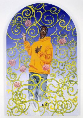 Kehinde Wiley (American, born 1977). Passing/Posing (Assumption), 2003. Oil on canvas mounted on panel, 96 x 60 x 1 1/2 in. (243.8 x 152.4 x 3.8 cm). Brooklyn Museum, Mary Smith Dorward Fund and Healy Purchase Fund B, 2003.90.3. © Kehinde Wiley. Courtesy Sean Kelly Gallery, New York