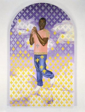 Kehinde Wiley (American, born 1977). Passing/Posing (Immaculate Consumption), 2003. Oil on canvas mounted on panel, 96 x 60 x 1 1/2 in. (243.8 x 152.4 x 3.8 cm). Brooklyn Museum, Mary Smith Dorward Fund and Healy Purchase Fund B, 2003.90.4. © Kehinde Wiley. Courtesy Sean Kelly Gallery, New York