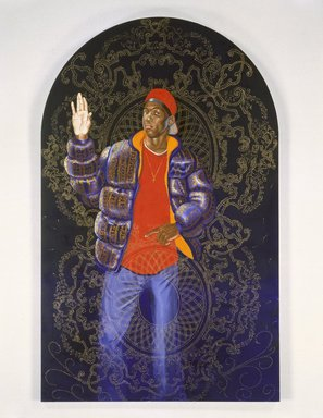 Kehinde Wiley (American, born 1977). Passing/Posing (Female Prophet Deborah), 2003. Oil on canvas mounted on panel, 96 x 60 x 1 1/2 in. (243.8 x 152.4 x 3.8 cm). Brooklyn Museum, Mary Smith Dorward Fund and Healy Purchase Fund B, 2003.90.5. © Kehinde Wiley. Courtesy Sean Kelly Gallery, New York