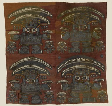 Lambayeque. Tapestry Fragment with Four Large Human Figures, 1000-1476. Camelid fiber, pigments, Textile: 21 x 21 in. (53.3 x 53.3 cm). Brooklyn Museum, Gift of Dr. Alvin E. Friedman-Kien, 2004.109.2. Creative Commons-BY