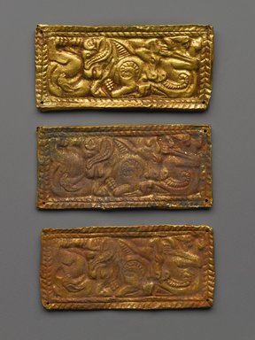 Three rectangular plaques. Gold, 1 3/4 x 3 7/8 in. (4.5 x 9.8 cm). Brooklyn Museum, Gift of Dr. Alvin E. Friedman-Kien, 2004.112.4a-c. Creative Commons-BY