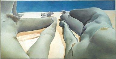 Joan Semmel (American, born 1932). Intimacy-Autonomy, 1974. Oil on canvas, 50 x 98 in. (127 x 248.9 cm). Brooklyn Museum, Anonymous gift, 2004.117. © Joan Semmel
