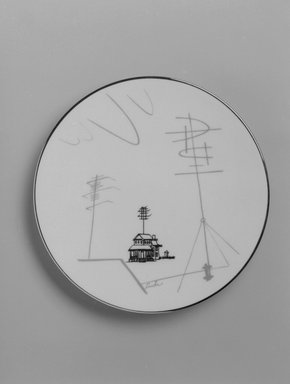 """Lucha (unknown). Plate, """"Conversation/Antenna"""" Pattern, ca. 1954. Porcelain, 5/8 x 6 7/16 x 6 7/16 in. (1.6 x 16.4 x 16.4 cm). Brooklyn Museum, Gift of Charles Venable and Martin Webb, 2004.14.2. Creative Commons-BY"""