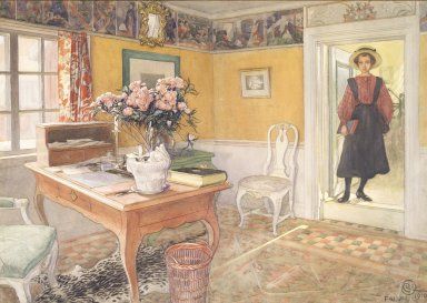 Carl Olof Larsson (Swedish, 1853-1919). School Girl in an Interior, 1910. Watercolor, Framed: 20 x 28 1/4 in. (50.8 x 71.8 cm). Brooklyn Museum, Bequest of Marion Mann Roberts, 2004.16