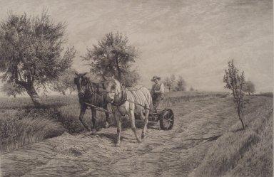 Peter Moran (American, 1841-1914). Mowing, 1887. Etching, Sheet: 21 1/4 x 27 5/8 in. (54 x 70.2 cm). Brooklyn Museum, Emily Winthrop Miles Fund, 2004.20