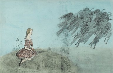 "Kiki Smith (American, born Germany, 1954). ""Come Away from Her,"" 2003. Intaglio with hand applied watercolor, Sheet: 50 3/8 x 73 1/2 in. (128 x 186.7 cm). Brooklyn Museum, Gift of the Prints and Photographs Council, 2004.22. © Kiki Smith"