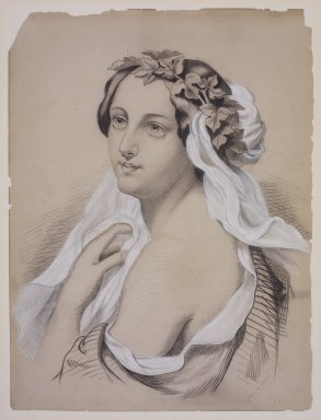 Jane E. Sloan. Portrait of a Woman Adorned with a Wreath of Leaves, 19th century. White chalk and black media (probably oil pastel or conté) over graphite on wove paper drymounted to a matboard backing, Sheet: 18 x 13 1/2 in. (45.7 x 34.3 cm). Brooklyn Museum, Bequest of Elisabeth Sloan Livingston, 2004.24.1