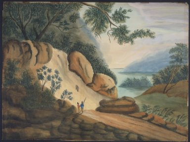 Sarah A. Ryder. Landscape with Two Figures, 19th century. Watercolor over graphite on wove paper, 19 x 25 9/16 in. (48.3 x 64.9 cm). Brooklyn Museum, Bequest of Elisabeth Sloan Livingston, 2004.24.2