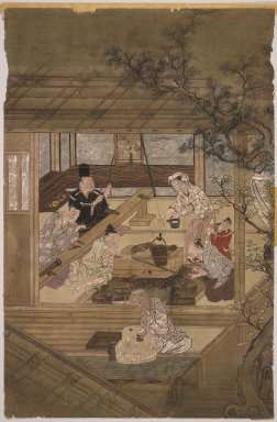 Domestic Scene. Ink and color on silk, 21 1/2 x 14 in. (54.6 x 35.6 cm). Brooklyn Museum, The Peggy N. and Roger G. Gerry Collection, 2004.28.10