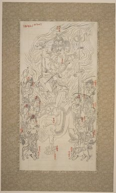 Buddhistic Mythological Scene. Ink on paper, 22 x 12 in. (55.9 x 30.5 cm). Brooklyn Museum, The Peggy N. and Roger G. Gerry Collection, 2004.28.11