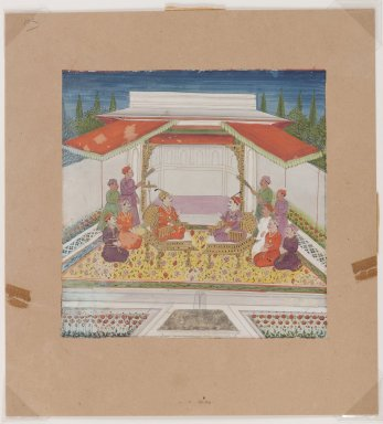Seated Figures and Attendants Before a Fountain, 19th century. Opaque watercolors on paper, 6 x 6 in. (15.2 x 15.2 cm). Brooklyn Museum, The Peggy N. and Roger G. Gerry Collection, 2004.28.14