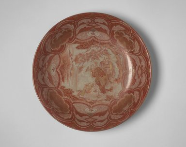 Plate, 19th century. Porcelain with overglaze red and gold enamel, 2 3/16 x 11 1/8 in. (5.6 x 28.2 cm). Brooklyn Museum, The Peggy N. and Roger G. Gerry Collection, 2004.28.155. Creative Commons-BY