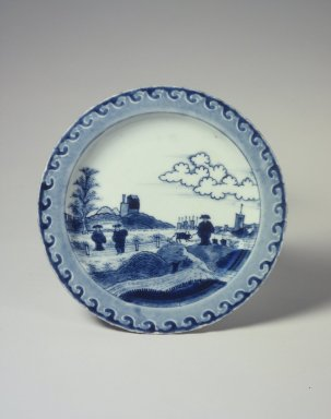 Dish, One from a Set of Three, 1725-1735. Porcelain with underglaze blue, 15/16 x 7 7/8 in. (2.4 x 20 cm). Brooklyn Museum, The Peggy N. and Roger G. Gerry Collection, 2004.28.159. Creative Commons-BY