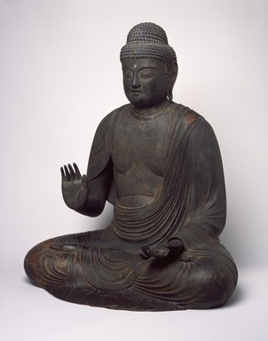 Figure of Seated Buddha, 794-1185. Wood, crystal, 34 1/2 x 29 1/2 x 21 1/2 in. (87.6 x 74.9 x 54.6 cm). Brooklyn Museum, The Peggy N. and Roger G. Gerry Collection, 2004.28.207. Creative Commons-BY