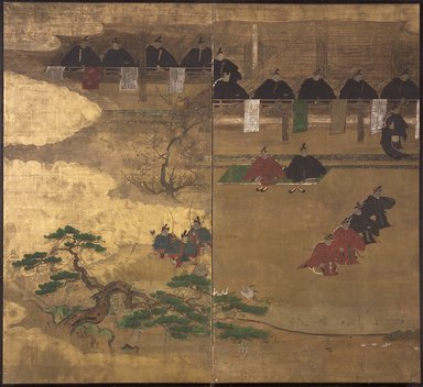 Fragment of Nenju Gyoji Screen, 17th century. Two-fold screen, ink, gold leaf, and color on paper, Overall in cluding mount: 69 11/16 x 73 7/16 in. (177 x 186.6 cm). Brooklyn Museum, The Peggy N. and Roger G. Gerry Collection, 2004.28.225