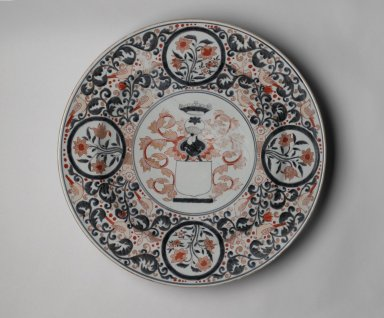 Armorial Plate, late 17th-early 18th century. Arita ware. Porcelain with underglaze blue and overglaze enamel decoration, height: 3 9/16 in. (9 cm); diameter: 21 3/4 in. (55.2 cm). Brooklyn Museum, The Peggy N. and Roger G. Gerry Collection, 2004.28.249. Creative Commons-BY