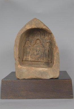 Votive Plaque Depicting Shakyamuni Buddha. Molded terracotta relief, 8 x 6 1/16 x 3 1/8 in. (20.3 x 15.4 x 7.9 cm). Brooklyn Museum, Gift of Jai Chandrasekhar, 2004.3.1. Creative Commons-BY