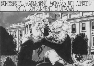 Sean Delonas (American). Nonessential Government Workers not affected by a Government Shutdown.... Ink, Sheet: 7 3/8 x 10 1/4 in. (18.7 x 26 cm). Brooklyn Museum, Gift of the artist, 2004.44.11. Creative Commons-BY