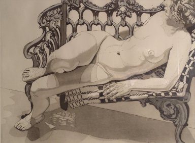 Virginia Piersol, NY. Nude on a Silver Bench, 1972. Etching and aquatint, 21 3/4 x 29 3/16 in. (55.2 x 74.2 cm). Brooklyn Museum, Gift of Edward and Phyllis Kwalwasser, 2004.45.2. © Philip Pearlstein