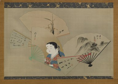 Sakai Hoitsu (Japanese, 1761-1828). Five Fans, 1820. Hanging scroll, ink, gofun, and gold on silk, With mount: 46 1/16 x 67 1/8 in. (117 x 170.5 cm). Brooklyn Museum, Gift of Betsy and Robert S. Feinberg, 2004.4