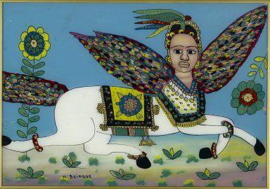 Gora Mbengue (1931-1988). Al-Buraq, 1975. Glass, paint, 13 1/2 x 19 1/4 in. (34.3 x 48.9 cm). Brooklyn Museum, Gift of Blake Robinson, 2004.52.21. Creative Commons-BY