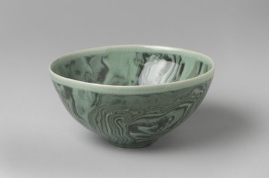 Shin Chul (Korean, born 1963). Bowl, 2003. Earthenware, marbled ware under a celadon glaze (Neriage technique), 3 x 6 in. (7.6 x 15.2 cm). Brooklyn Museum, Gift of the Tong-in Gallery, 2004.6. Creative Commons-BY