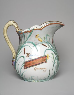 Union Porcelain Works (1863-ca.1922). Pitcher, ca. 1885. Porcelain, 9 7/16 x 9 5/8 x 6 1/4 in. (24 x 24.4 x 15.9 cm). Brooklyn Museum, Gift of Jay and Emma Lewis, 2004.71. Creative Commons-BY