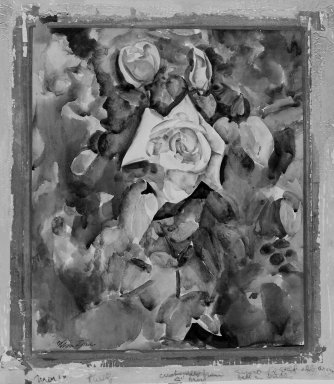 William Zorach (American, born Lithuania, 1887-1966). Roses with Foliate Background, ca. 1920. Watercolor over graphite on paper mounted on board, Sheet: 18 x 16 in. (45.7 x 40.6 cm). Brooklyn Museum, Bequest of George Turitz, 2004.72.4
