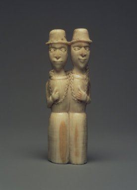 Kongo (Yombe subgroup). Pair of Standing Male Figures, late 19th century. Ivory (probably boar's tooth), 3 x 7/8 x 5/8 in. (7.6 x 2.2 x 1.6 cm). Brooklyn Museum, Gift of Dorothea and Leo Rabkin, 2004.75.3. Creative Commons-BY
