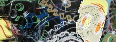 John Matos aka Crash (American, born 1961). A-U-T-O-matic, 1985. Spray paint and silkscreen on canvas, 2 panels, each: 36 1/4 x 48 in. (92.1 x 121.9 cm). Brooklyn Museum, Gift of Jane and Raphael Bernstein, 2005.33.1a-b. © John Matos aka Crash