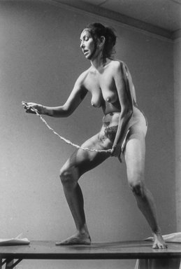 Carolee Schneemann (American, born 1939). Interior Scroll, 1975/2004. Photograph, 40 x 60 in. (101.6 x 152.4 cm). Brooklyn Museum, Gift of Marc Routh by arrangement with the Remy-Toledo Gallery, 2005.35.1. © Carolee Schneemann
