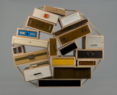 """Tejo Remy (Dutch, born 1960). Chest of Drawers, """"You Can't Lay Down Your Memories,"""" edition number 45, designed 1991; made 2005. Maple, other woods, painted and unpainted metals, plastic, paper, 60 x 60 x 30 in. (152.4 x 152.4 x 76.2 cm). Brooklyn Museum, Gift of Joseph F. McCrindle in memory of J. Fuller Feder, by exchange, 2005.36. Creative Commons-BY"""