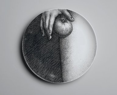 Piero Fornasetti (Italian, 1913-1988). Plate, Eva, ca. 1954. Glazed earthenware, 1 x 10 1/4 x 10 1/4 in. (2.5 x 26 x 26 cm). Brooklyn Museum, Gift of the Estate of Jane Adams Breed, 2005.37.12. Creative Commons-BY