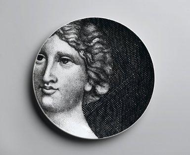 Piero Fornasetti (Italian, 1913-1988). Plate, Eva, ca. 1954. Glazed earthenware, 1 x 10 1/4 x 10 1/4 in. (2.5 x 26 x 26 cm). Brooklyn Museum, Gift of the Estate of Jane Adams Breed, 2005.37.19. Creative Commons-BY