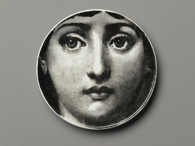 Piero Fornasetti (Italian, 1913-1988). Plate, Theme and Variation, ca. 1954. Glazed earthenware, 1/2 x 4 1/8 x 4 1/8 in. (1.3 x 10.5 x 10.5 cm). Brooklyn Museum, Gift of the Estate of Jane Adams Breed, 2005.37.1. Creative Commons-BY