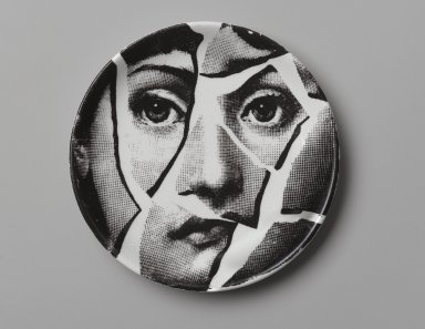 Piero Fornasetti (Italian, 1913-1988). Plate, Theme and Variation, ca. 1954. Glazed earthenware, 1/2 x 4 1/8 x 4 1/8 in. (1.3 x 10.5 x 10.5 cm). Brooklyn Museum, Gift of the Estate of Jane Adams Breed, 2005.37.3. Creative Commons-BY