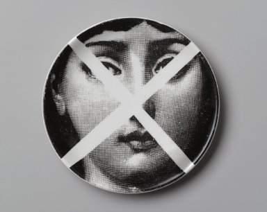 Piero Fornasetti (Italian, 1913-1988). Plate, Theme and Variation, ca. 1954. Glazed earthenware, 1/2 x 4 1/8 x 4 1/8 in. (1.3 x 10.5 x 10.5 cm). Brooklyn Museum, Gift of the Estate of Jane Adams Breed, 2005.37.4. Creative Commons-BY