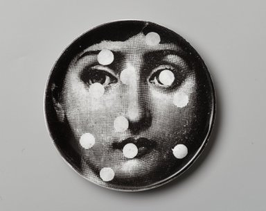 Piero Fornasetti (Italian, 1913-1988). Plate, Theme and Variation, ca. 1954. Glazed earthenware, 1/2 x 4 1/8 x 4 1/8 in. (1.3 x 10.5 x 10.5 cm). Brooklyn Museum, Gift of the Estate of Jane Adams Breed, 2005.37.5. Creative Commons-BY