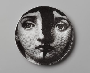 Piero Fornasetti (Italian, 1913-1988). Plate, Theme and Variation, ca. 1954. Glazed earthenware, 1/2 x 4 1/8 x 4 1/8 in. (1.3 x 10.5 x 10.5 cm). Brooklyn Museum, Gift of the Estate of Jane Adams Breed, 2005.37.6. Creative Commons-BY