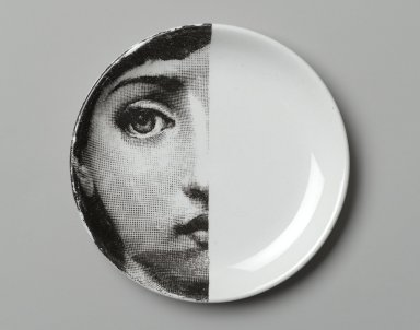 Piero Fornasetti (Italian, 1913-1988). Plate, Theme and Variation, ca. 1954. Glazed earthenware, 1/2 x 4 1/8 x 4 1/8 in. (1.3 x 10.5 x 10.5 cm). Brooklyn Museum, Gift of the Estate of Jane Adams Breed, 2005.37.7. Creative Commons-BY